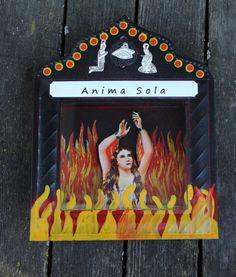 Anima Sola - Lonely Soul - Tin Niche Nicho retablo Modern Mexican Folk Art flame