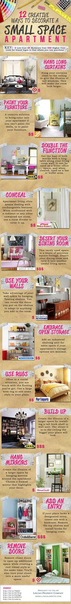 Small space tips. Build up. Paint furniture. Use carpets. Hang mirrors. Use your walls. Etc.