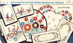 Vogart 118 Lazy Daisy designs for 3 piece sets.