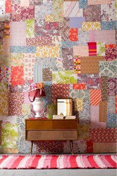patchwork papel de parede