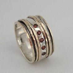 HadasGold Hand Crafted Swivel Gold Silver Garnet Ring