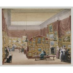 """George Scharf, """"Interior of the Gallery of the New Society of Painters in Watercolours, Old Bond Street"""", 1834."""