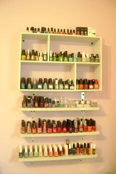my nail polish collection - my hubby built the shelves :)