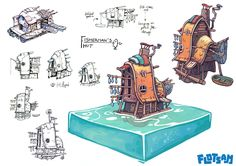 Building designs for Flotsam (by Pajama Llama Games). A building simulator game set in a flooded world.