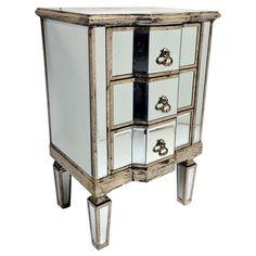 vintage mirrored end table bed room hall way furniture glass wood 3 drawers vtg bedroom furniture bedside cabinets mirror antique