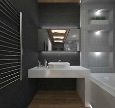 Решение для небольшой ванной комнаты в строгих черно-белых тонах в стиле минимализм. #дизайн_ванной_комнаты #черно-белая_ванная_комната #не_большая_ванная_комната