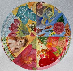 """At our Surprise Yourself Creativity Retreat, 16 women collaborated on 12 different mandalas -- one for every month of the year. Each mandala had a song theme and used different media. The mandala for February was """"My Funny Valentine"""", done in watercolor. Eight different artists worked on this one: Connie Voss, Maggie Sauer, Kris Ryall, Pat Howard, Leslie Hawkins, Debbie Wyckoff, Barbara Bond, and Linda Greenberg."""