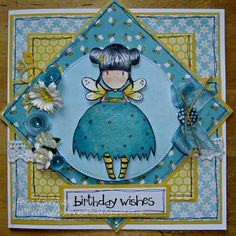 handmade card using Bumble Bee from Sugar Nellie at www.funkykits.co.uk http://fiscardsandcrafts.blogspot.co.uk