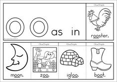 OO Vowel Digraph Games-Activities-Worksheets {84 pages}. A page from the unit: flip book (color and black and white)