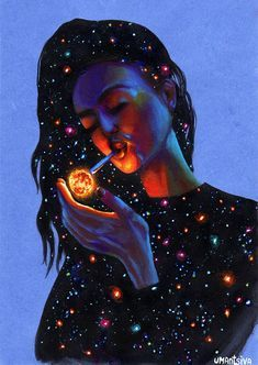 Giclee print on canvas hand-embellished with acrylic paint, girl smoking, galaxy painting