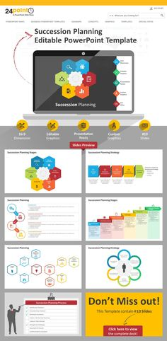 This 13-slide #SuccessionPlanning #PowerPointtemplate comes to the rescue of busy professionals. Use these plug-and-play graphics in presentations related to recruitment, strategy planning and organizational development. HR managers, consultants and CEO's will find this template useful. All the elements in the slides are editable and you can easily change the colors, add text and edit the shapes as you see fit. Download now.* #sucessiontemplate #planningeditablepowerpoint #successpowerpoint