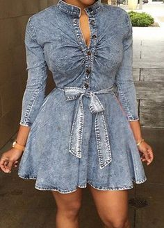 Long Sleeve Stand Collar Skater Dress