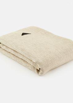 Odd Block Linen Throw - Natural