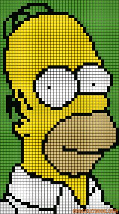 Free Homer Simpson Hama Perler Bead Pattern or Cross Stitch Chart