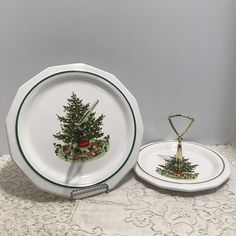 Pair Of Ceramic Christmas Tree Tidbit Dishes For The Holidays Matching Pattern
