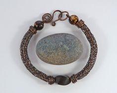 Viking Knit Gemstone & Wood Bead Bracelet  by BeauBellaJewellery #Viking bracelet #vikingknit #vikingweave #jewelry #copper #brown #mysticagate #gemstone #etsy #handmade