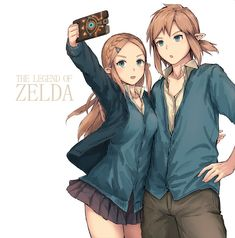 Zelda and Link modern style