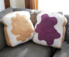 Made for Each Other Pillow Set Customizable by diffractionfiber - Peanut Butter & Jelly decorative/novelty pillows! Food Pillows, Cute Pillows, Diy Pillows, Throw Pillows, Funny Pillows, Decorative Pillows, Homemade Pillows, Sewing Pillows, Sewing Projects