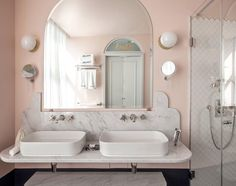 """92 Likes, 16 Comments - Alex Gourlay Vellum Interiors (@vellum_interiors_alex) on Instagram: """"Quite possibly the coolest bathroom I've ever seen!  pink + marble + curves  Design by (the…"""""""