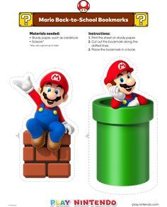 Mario Back to School Bookmarks Super Mario Bros, Mario Bros Cake, Super Mario Brothers, Mario Birthday Banner, Super Mario Birthday, Super Mario Party, Bolo Do Mario, Bolo Super Mario, Mario E Luigi