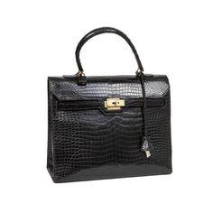 789412da4a9a Very Rare  monaco hermès Bag In Black Crocodile Porosus Leather