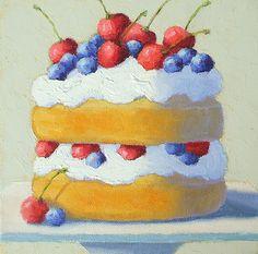 "Blueberry Cherry Shortcake by Pat Doherty Oil ~ 8"" x 8"""