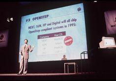 Steve Jobs, Chairman and CEO of NeXT computers makes a presentation on August 11, 1994