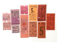 Pinks and Peach Vintage British Transport tickets (11), warm hues