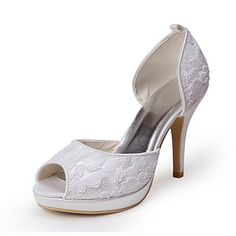 Tasteful Satin and Lace Peep Toe Pumps Wedding Shoes – USD $ 69.99