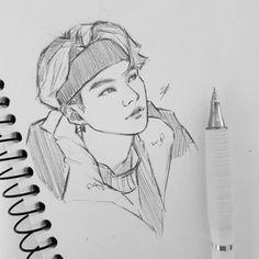 Kpop Drawings, Art Drawings Sketches Simple, Pencil Art Drawings, Drawing Bts, Sketch Drawing, Fan Art, Kpop Fanart, Art Sketchbook, Bts Wallpaper