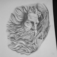 What does zeus tattoo mean? We have zeus tattoo ideas, designs, symbolism and we explain the meaning behind the tattoo. Zeus Tattoo, Payasa Tattoo, Tattoos 3d, Poseidon Tattoo, Tattoo Drawings, Sleeve Tattoos, Gott Tattoos, Greek God Tattoo, Greek Mythology Tattoos