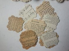 100 vintage book paper punches . vintage paper by GTDesigns