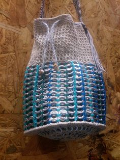 Pop tab bucket boho bag, created and made by Sunny myself. Detail Pic