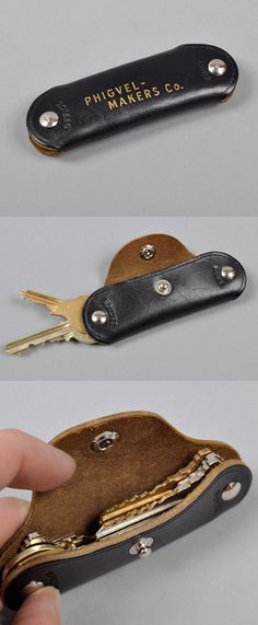 »Key fob use screw on rivets for holding keys in«