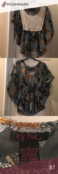 Boho flutter sleeve shirt This top is a Boho beaut! The flutter sleeves, colorful print and lace detail are so cute. Semi-sheer. Only worn once. It's Pink Tops Blouses