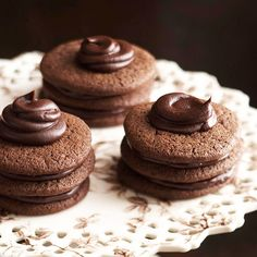 A pretty ganache swirl adds a finishing touch to these rich and indulgent holiday cookies: http://www.bhg.com/christmas/cookies/chocolate-holiday-cookies/?socsrc=bhgpin121013tripledeckerdecadence&page=5