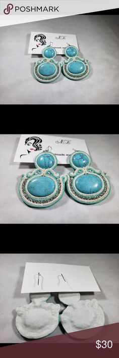 Handmade blue stone crystals round earring new up for sale beautiful handmade earring, new never used.  it is in blue color. Crystal details around  please see the pics , if you need more pictures please feel free to contact. handmade Jewelry Earrings