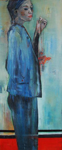 Woman in Blue Vrij werk. Gelaagd olieverfschilderij uit de serie vrouwen/meisjes. Marga Klumper