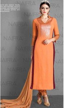 Pakistani Style Orange Color Georgette Narrow Pants Dresses | FH461071947