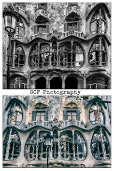 Barcelona Photograph, Windows Print, Black and White Photo, Gaudi Print Wall Art, Casa Batllo Picture, Spain Home Decor