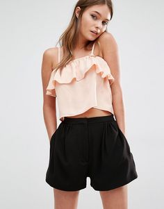 Buy it now. Fashion Union Ruffle Cami Top - Nude. Top by Fashion Union Lightweight woven fabric Square neckline Ruffle layer Cropped cut Regular fit - true to size Machine wash 100% Polyester Our model wears a UK 8/EU 36/US 4 , topcorto, croptops, croptops, croptop, topcrop, topscrops, cropped, bailarina, topbailarina, corto, camisolacorta, topcortoestilobandeau, crop, bralet, strappybralet, bandeautop. Beige Fashion union  crop top  for woman.