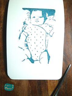 gravure bébé pour naissance - par Espèce de Manue !