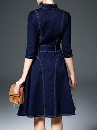 Dark Blue A-line Vintage Midi Dress-great stiching details from the bacl Vintage Midi Dresses, Unique Dresses, Denim Outfit, Denim Blouse, Fashion Catalogue, Jeans Dress, Skirt Outfits, Denim Fashion, Designer Dresses