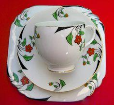 Art Deco Heathcote China Teacup Trio Vintage by aquamarinedream