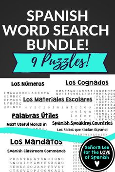 GOT SUB PLANS? This bundle includes NINE top selling Spanish word searches in one discounted bundle!  Includes: Most Useful Words in Spanish, Cognates, False Cognates, Spanish Speaking Countries, Class Commands, Greetings & Farewells, Calendar, School Supplies, Numbers 1-100
