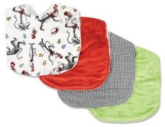 """Trend Lab Dr. Seuss Cat in the Hat Bib Set, Red, Green by Trend Lab. $13.95. 4 piece bib set. Printed cotton; Star embossed velour on front; White terry on back. Machine washable. Each measures: 9"""" x 13"""". 100% cotton prints; 100% polyester solids. Keep messes to a minimum with this stylish Dr. Seuss Cat in the Hat Bib Set by Trend Lab. Set features four bibs each with fun, modern prints and solids on the front and soft terry on the back. Bib patterns include: one with a scat..."""