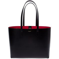 Saint Laurent small 'Paris' shopper tote ($1,740) ❤ liked on Polyvore featuring bags, handbags, tote bags, black, shopping bag, square tote, black tote, square purse and black tote bag