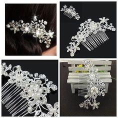 Femme Peigne Cheveux Courrone Perle Fleur Strass Cristal Bijoux Mariage Soirée