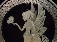 Etched Glass - Celtic Fantasy Fairy and Butterfly - Decorative Tabletop Art Display