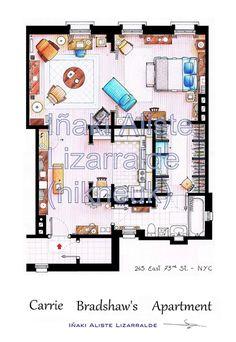Carrie Bradhsaw's Apartment Floorplan (Medium)